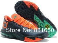 Wholesale kd vi splatter black orange green big Kids Basketball Athletic Sports Shoes euro size