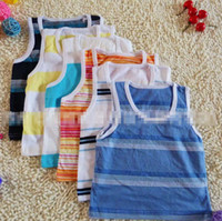 Wholesale 2014 Summer Children Baby Boys Girls Leisure Sleeveless T shirts Kids Slimple Striped Tee Shirt Child Casual Colorful Vest Clothes I0586