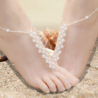 Wholesale 4 Styles Bridal Pearl and Crystal Barefoot Sandals Wedding Shoes Yoga Accessoried Dance Shoes Foot Jewellery Pool Nude Shoes Beach Necessity