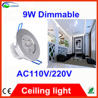 LED 110V Downlights 50pcs Fedex free Dimmable 9W Led Recessed Downlight 45Degrees Energy Saving Led Ceiling light 110V 240V Replace Halogen Lamp Long life