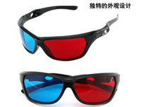Wholesale Red magenta Blue Anaglyph D GLASSES plastic frame stereo glasses Flat glasses for r b movie game