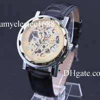 Wholesale Mix Colors Mens black leather Gold Skeleton Hand Wind Mechanical Watch Dress for men women winner Watches