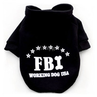 Wholesale New Arrive Doggie Dog Pet Warm Soft Fbi Costume Coat Clothes Sport Sweater Hoodie Apparel WX73