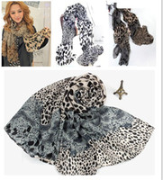 Wholesale Spring amp Winter Korean Splicing Leopard Print Sexy Scarf Lady Fashional Patchwork Long Tippet Girls Casual Wraps Shiffon Cappa I0587