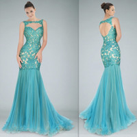 Wholesale 2015 Romantic Light Green Evening Gowns Mermaid Long Custom Made Appliques Lace Beaded Open Back Zuhair Murad Prom Party Dresses