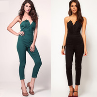bandeau style dress - British Style Women Sexy Bandeau Jumpsuit Playsuit Backless High Waist One Piece Pencil Pant Bodycon Bodysuit Dress Romper NAD0514