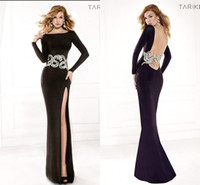 Reference Images Jewel/Bateau Satin 2014 Black Mermaid Evening Dresses Sexy Sheer Backless Beading Sequins Tarik Ediz Prom Pageant Gowns With High Side Slit Long Sleeve