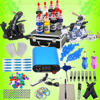 2 Guns Beginner Kit 8 bottles,15ml/bottle USA Dispatch Professional complete Tattoo Kits 2 Gun Machines 8 Ink Sets Equipment Needle power supply grips tips free shipping K002