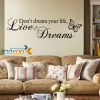 Wholesale Don t Dream Your Life home decor creativewall decal ZooYoo8142 decorative adesivo de parede removable vinyl wall sticker