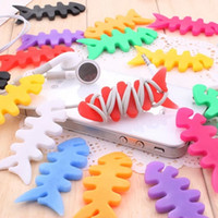 Wholesale 6028 new full shipping lovely fish bones headphone cable winder MP3 collection spool reel factory