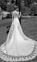 Wholesale Galia Lahav Mermaid Wedding Dresses V Neck Satin Lace Bridal Gowns Appliques Beads Chapel Train Backless Spring Custom Made