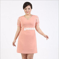 Wholesale Plus Size Lace Hollow Out Sleeve Dress Elegant Fat Women Pink Clothing Top Quality New Summer Short Sleeve Big Size