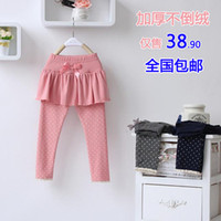 Jeans Girl Summer Children's clothing female child legging 2013 autumn and winter thickening plus velvet child culottes boot cut jeans baby