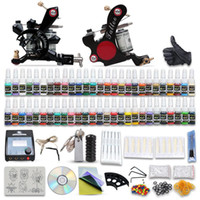 2 Guns tattoo kit - Complete Tattoo Kits Tattoo Machines Gun Colors Tattoo Inks Sets Tattoo Power Supply Tattoo Needles Beginner Tattoo Kit D100 DH
