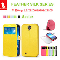 For Samsung Leather Red For samsung Galaxy Mega 6.3 i9200 Hello Deere Feather Silk Series window design Leather cover Case Free shipping HD-33