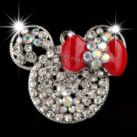 Wholesale Cute Clear Mickey Minnie Mouse Head with Colorful Bowknot Rhinestone Pendant for Chunky Necklace Fashion Charm Jewelry DIY Clothes Accessory