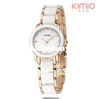 Wholesale Box Packing Brand Hot Fashion Eyki Kimio Ladies Ceramic Luxury Bracelet Watches Golden Rose watch women