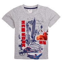 Summer clothing new york - New boys clothes nova summer t shirts for boys New York embroidery gray cheap t shirts C4900