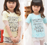 Girl Summer Standard 2014 Summer Children Girls Fashional Short Sleeve T-shirts Korean Kid's Lovely Floral Lace Tee Shirt Child Cute Printed Letters Tops I0581