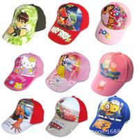 Wholesale Children s caps Cartoon peppa pig spider man Despicable Me KT snow white cap baby girls hats baseball peaked cap