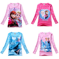 Girl Summer Standard Wholesale 2014 Frozen Girls T-shirts baby Spring Autumn Cartoon Frozen Princess clothing children's long sleeve t shirts free shipping