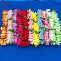 al por mayor collares guirnalda-Hawaiian Leis Flor de Seda Fiesta Favor leis Artificial Guirnalda Guirnalda Cheerleading Collar Decoración