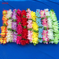 Wholesale Hawaiian Leis Silk Flower Party Favor leis Artificial Garland Wreath Cheerleading Necklace Decoration