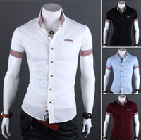 Wholesale 2014 HOT new arrive Korea slim men s shirts Casual short sleeve Splice Plaid shirt mens shirts white