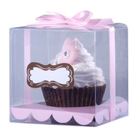 Wholesale Transparent cupcake box boxes Clear cake box with customized sticker included colors insert