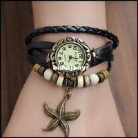 arm candy bracelets - 2014 Romantic Color Vine Big Sea Star Arm Candy Women Charm Cow Leather Bracelet Watch