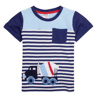 Wholesale 2014 new baby clothes nova brand factory direct store boy blue striped tee shirts for summer car embroiderey best t shirts C4893