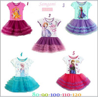 Wholesale In stock Fashion Frozen Princess Anna Elsa Sofia Short Sleeve Dress Children Girls Pompon Gauze Dresses Baby Girl Party Tutu Dresses