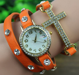 2014 New Arrival wrap Around Bracelet Watch,Cross Crystal Imitation leather chain women's Quartz wrist watches Christmas watches