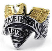 Wholesale Whitney_houston Jewelry Mens Stainless Steel Ring American Biker Gold Silver US size to Drop