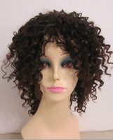 Natural Color Curly Synthetic hair Dark Brown African American Hair Medium Sexy Curly Hairstyle Unique Capless Synthetic Wig About 16 Inches