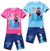 Hot Sale 2014 New Summer Children Girls Sets Frozen Anna Els...