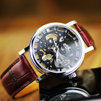 Wholesale NEW Winner Gorgeous Ultra thin Luxury Golden Gold Hollow Carve Dial Luxury Mechanical skeleton genuine leather Clock Watch FOR business men