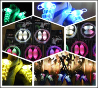 Wholesale 400Pcs Fiber Optic LED Shoe Laces Shoelaces Neon LED High Bright Flashing Shoelace pair T348