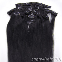 Wholesale 15 quot quot set Indian Clip in hair Human Hair Extensions jet black