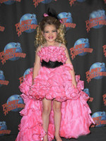 Wholesale Newest glitz Girls Pageant Dresses Cupcake Eden Wood High Low Ruffled Organza Sleeveless