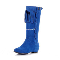 Wholesale fall fashion matte leather fringed wedges side zipper Martin boots boots women size yards