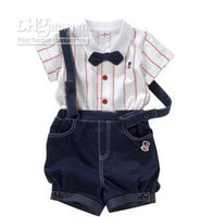 Boy Summer  - boy's suits British gentleman Suspenders trousers Bow tie Stripe Short sleeve shirts baby suitsn