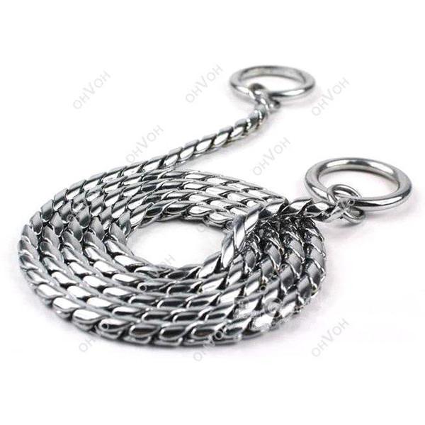 Collares de adiestramiento de perro S5Q serpiente P Choke Collar de cadena de Metal para perro