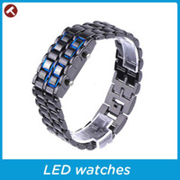 Wholesale hot Fashion Men Women Lava Iron Samurai Metal LED Faceless Bracelet Watch Wristwatch Stainless Steel Novelty Item for Gift