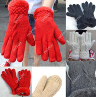 Wholesale S5Q Warm Winter Knit Gloves Mittens One Size Fur Lining For WomenAAACWD