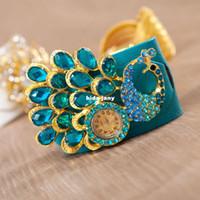 Wholesale 2014 the latest Bohemian style Fashion leather upholstery watch Peacock Rhinestones Belt bracelet watch