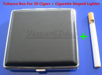 Wholesale New Black Leather Cigarette Box Case Metal Holder And Lighter