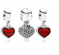 Wholesale Mothers Day Jewelry Gift Sterling Silver Mother Daughter Enamel Heart Charm European Bead