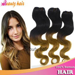 Wholesale 100 Human Ombre Hair Extensions Blonde Body Wave Virgin Brazilian Remy Hair Bulks Pieces g Per Bundlesl Hot True Human Hair Weaving A