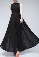 Reference Images Black Crew Neck DIVAINT'L New Design Hot Sale Vintage Chiffon Maxi Evening Dress With Ruffled Neck Peplum In Stock Occasion Dresses